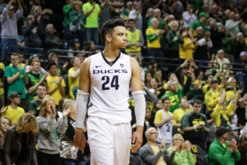 Dillon Brooks (24) looks to the crowd after a 30 point game. The 16 ranked Oregon Ducks host the Utah Utes on February 7, 2016 at Matthew Knight Arena in Eugene, Oregon. (Samuel Marshall/Emerald)